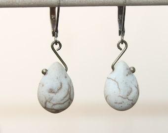 White Cream Earrings Brass earrings Dangle earrings Drop earrings Howlite turquoise Earrings Jewelry Gift Ideas