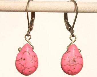 Pink Earrings Drop Earrings Dangle earrings Howlite turquoise Earrings Jewelry  Small Earrings Light Earrings