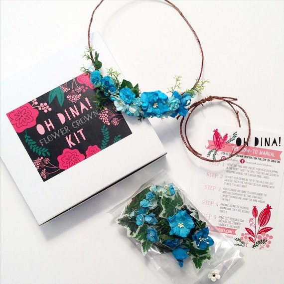 DIY Turquoise Flower Crown Kit Turquoise Wedding Headpiece