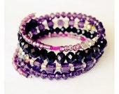 Customer Appreciation!! Purple Mix Swarovski-Style Crystals with Czech Glass Memory Wire Bracelet - Pick Two Charms