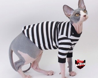 Cat Shirt Sphynx Cat Clothes Gothic Kitty Black White Striped Long Sleeve Cat Sweater