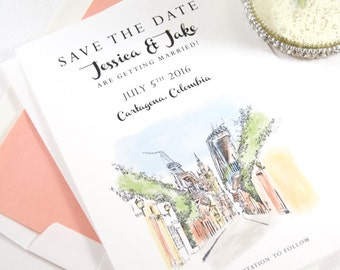Cartagena, Colombia Skyline Save the Date Cards Hand Drawn (set of 25 cards)