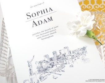 Birmingham Skyline Wedding Programs (set of 25 cards)