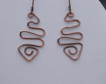 Copper wire wrap earrings, Free form earrings, Copper earring, Item #50