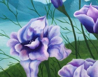 SALE! Flowers Landscape Acrilic Original Painting