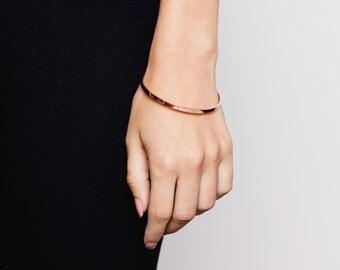 Basic Bangle, Rose Gold, 18ct Rose Gold plated, Sterling Silver, 925, Geometric, Modern, Minimalist, Simple Bangle