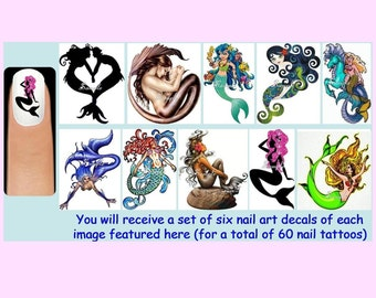 60 x MERMAIDS Nail Art Decals + Free Rhinestones Mythical Creatures Creature Mother Baby Tail Fin Water