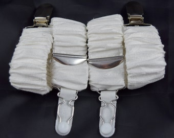 Pair of Detachable Silk Covered Suspenders - Ivory and Silver