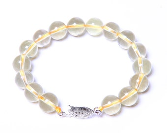 Lemon Quartz Gemstone Bracelet with 925 Sterling Silver Clasp
