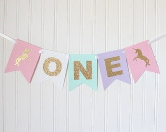 Gold, Pink, White, Mint, Purple ONE High Chair Unicorn Happy Birthday Banner/ Girl Birthday/ Princess Party/ Party Decorations/1st birthday