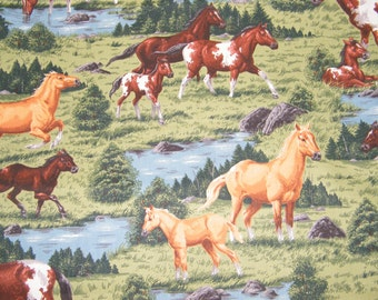 BTY Grazing HORSES Print 100% Cotton Quilt Craft Fabric by the Yard