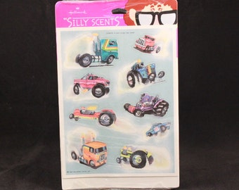 Vintage Silly Scent Hallmark Scratch and Sniff. Trucks. Sealed. Diesel Scented