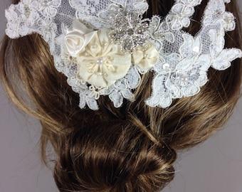 Ivory Lace Bridal  Hair comb, Bridal Headpiece, Bridal Hair Accessories,