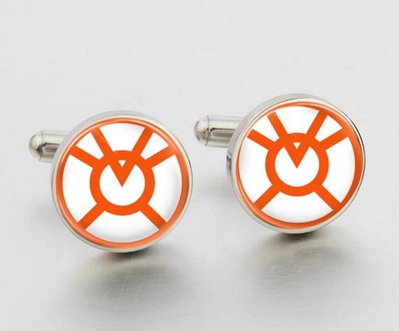 Orange Lantern logo cufflinks Lantern Corps Original cuffOrange Lantern Corps Logo