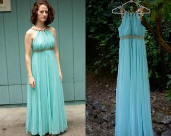 1970's rhinestone goddess gown - prom dress - evening gown - teal blue - chiffon