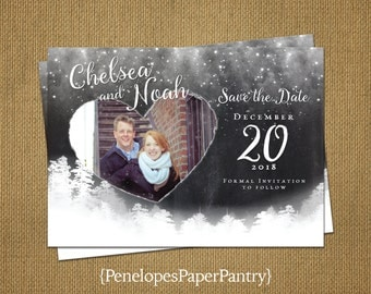 Photo Save The Date Card,Winter Wedding,Romantic,Modern,Simple,Elegant,Sophisticated,Customizable With White Envelopes