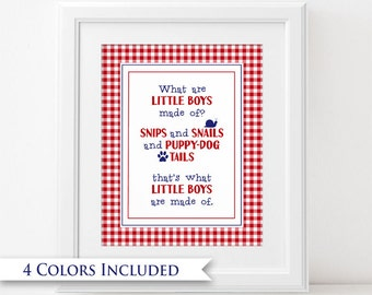 What Are Little Boys Made Of - Digital Wall Art Print PRINTABLE Nursery Rhyme Bedroom Decor Red Blue Green Snail Puppy Dog Tail Baby Shower