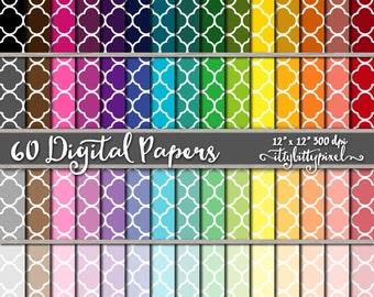 Quatrefoil Scrapbook Paper, Lattice Scrapbooking Paper, Quatrefoil Digital Paper, Lattice Pattern, Quatrefoil Paper, Vintage Paper Pack