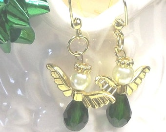 """Angel Pierced Earrings,Faceted Glass Beads,1 1/2"""",Handmade,Red,Green,Blue,Purple,White,Brown,Gold and Silver Metals, # E02"""