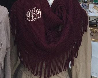 Monogrammed fringe womens infinity scarf
