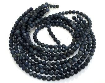 """Dumortierite semi-matte beads 8 mm round denim blue gemstones 15.5"""" strand"""