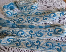 A versatile length of classic French antique passementerie trim in gold and Cambridge blue.  Totally new and unused.