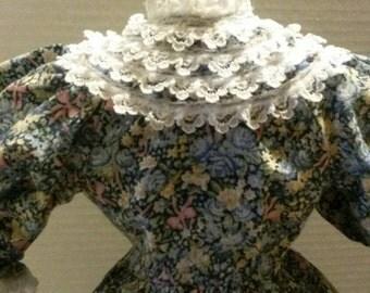 Vintage Blue Floral Doll Dress