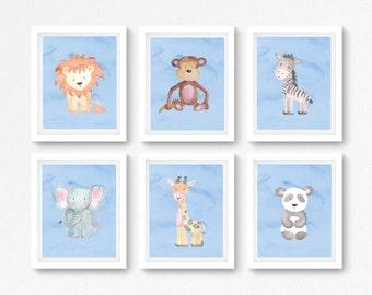 Blue Safari Baby Shower Gift, Blue Safari Nursery Decor, Baby Boy Safari Prints, Jungle Nursery Decor, Watercolour Safari Wall Art Prints