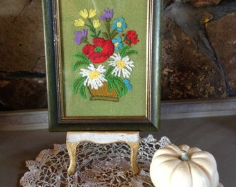 Vintage Framed Crewel Flower Picture