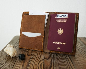 Leather passport case, passport holder, travel wallet, card, ticket holder