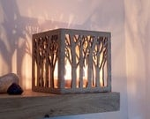 Wooden Tea Light Lantern Holder Tree Pattern, Votive Candle Holder, Tealight Holder, Wedding Lantern, Personalised Gift, 5th Anniversary