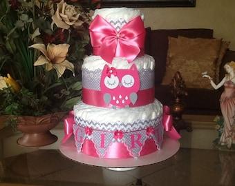 Owl diaper cake/pink and grey owl diaper cake/Pink and grey owl baby shower centerpiece/hot pink owl diaper cake/Girl diaper cake
