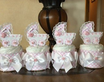 Baby girl mini diaper cakes set of 4 carriage centerpieces Baby girl baby shower pink and white