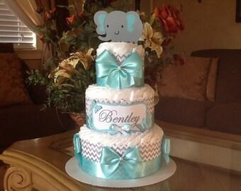 Elephant diaper cake/Neutral elephant diaper cake/Teal and grey chevron diaper cake/Neutral baby shower centerpiece