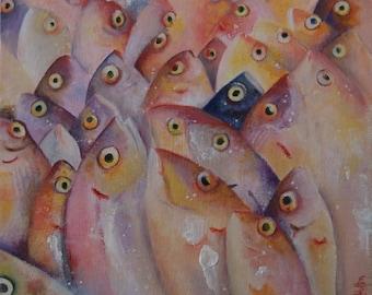 Original Small Oil Painting of Fish, food art