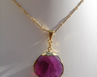 Gold chain in 585 gold filled with hydro Amethyst drop pendant