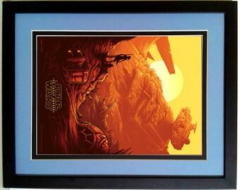 Star Wars  Poster The Force Awakens Imax Ray & BB-8 on Jakku Finest Quality Framing