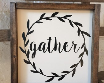 Gather with Wreath Framed Wood Sign