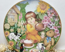 Franklin Collectors Plate 'Teatime Surprise' The 1983 Carol Lawson Plate ~ Limited Edition ~ Little Girl With Toys & Rabbit Having Tea