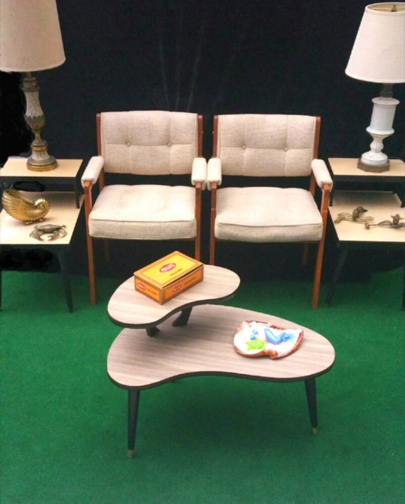 Mid Century Modern Coffee Table Kidney Bean Shaped Atomic: Mid Century Modern Kidney Coffee Table Vintage 2 By