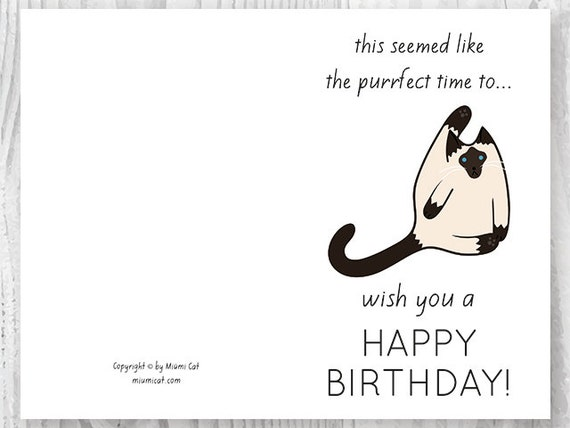 Impertinent image with free printable cat birthday cards