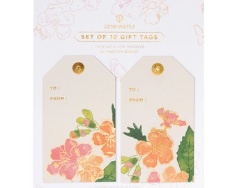 Painted Floral Beige Gift Tags
