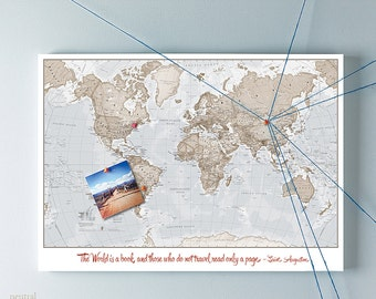 Personalised World Canvas Map Neutral - The World is a book and those who do not travel read only a page - Saint Augustine