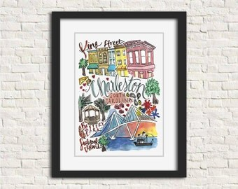 Charleston, South Carolina City Watercolor Illustration Wall Art Print // 8x10