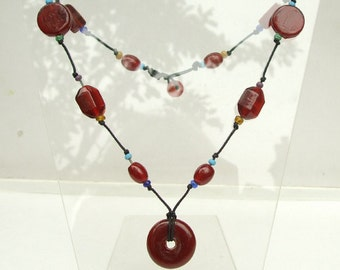 Red glass bead pendant necklace red and turquoise glass beaded necklace glass beads on black cord necklace boho jewelry tribal jewellery