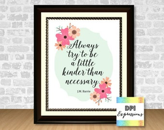 Kindness Quote, Always Try To Be Kinder Than Necessary, J.M. Barrie Quote Art Print, Printable Art, DIY Printable Wall Decor, DIGITAL