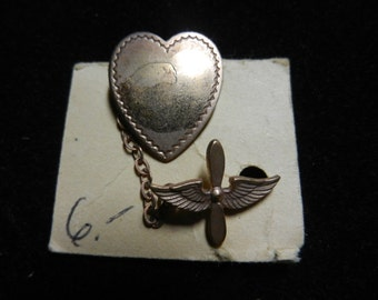 Vintage WW2 World War Two Sweetheart Heart Pin on Card