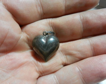 Vintage Puffy Sterling Silver Heart Pendant