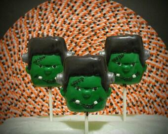 Frankenstein Chocolate Lollipops