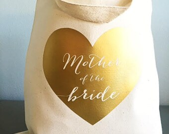 Mother of the bride gift - Gold - Mother of the bride - Heart tote bag